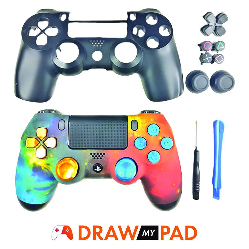 Manette PS4 custom Skydream réalisées grâce aux accessoires et coque custom PS4 mis à disposition par Draw my Pad