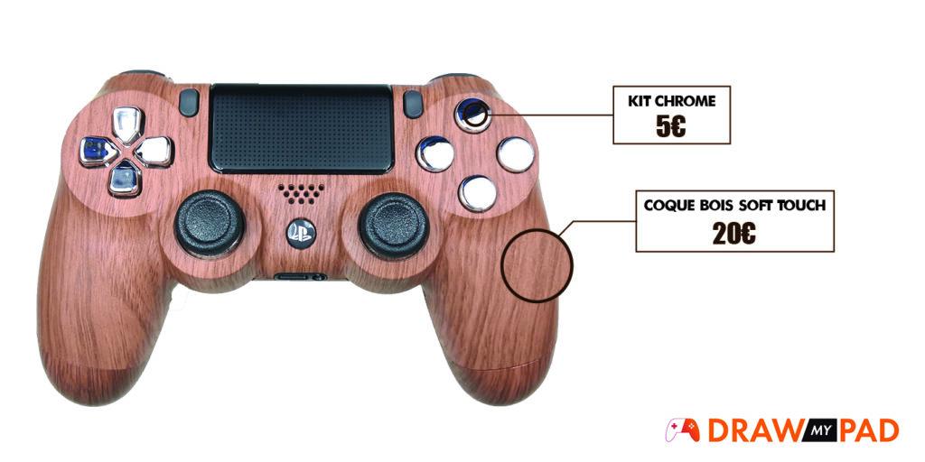 Coque manette PS4 effet bois pour manette PS4 custom par Draw my Pad
