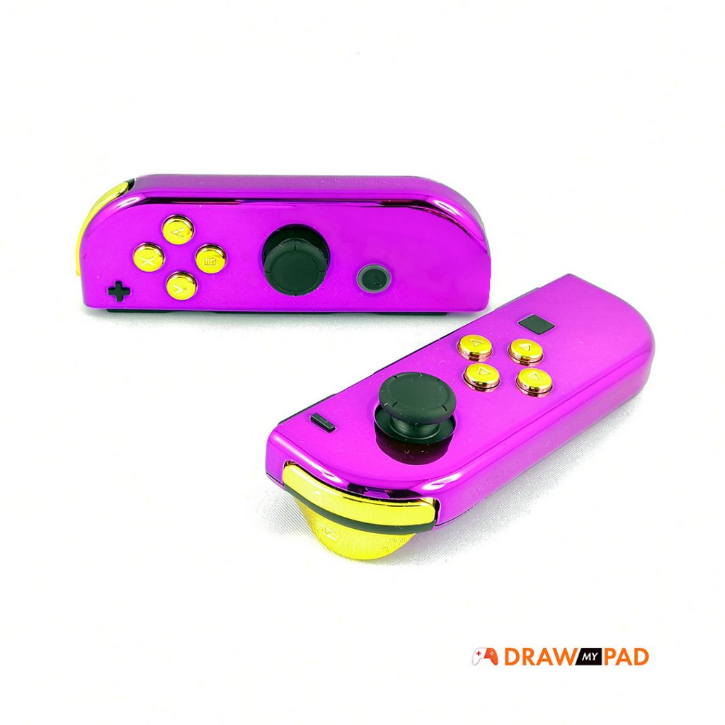 manette switch - joycons - coque violette, boutons gold