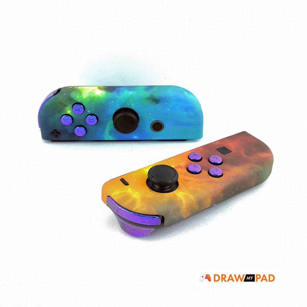 manette switch pro - Joycon - coque nébuleux, boutons violet-bleu