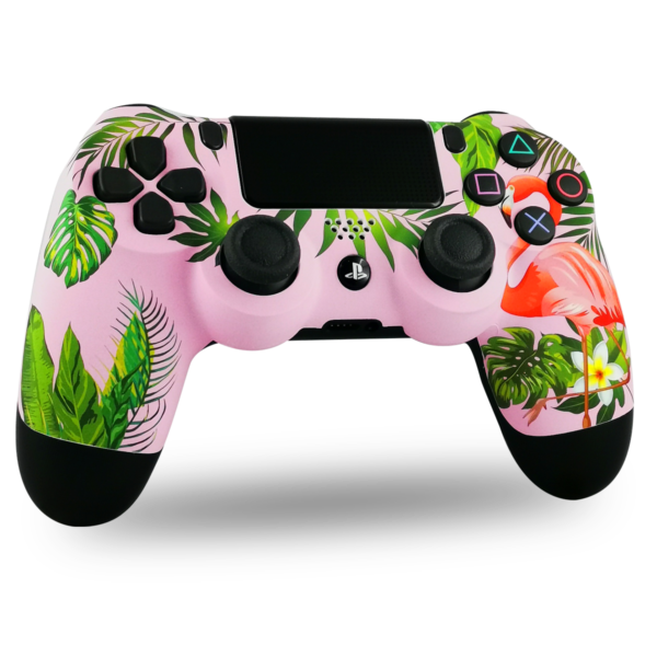 coque-PS4-custom-playstation-4-sony-personnalisee-drawmypad-flamingo