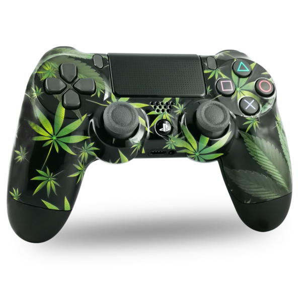 coque-PS4-custom-playstation-4-sony-personnalisee-drawmypad-kanadian-leaves-canabis