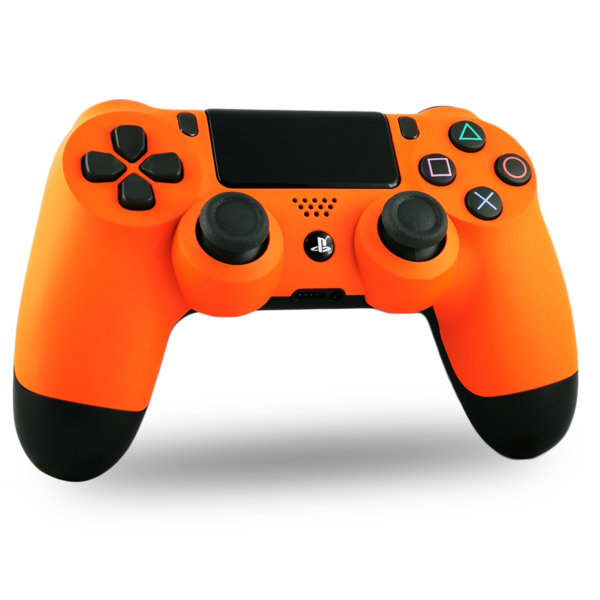coque-PS4-custom-playstation-4-sony-personnalisee-drawmypad-orange-soft-touch
