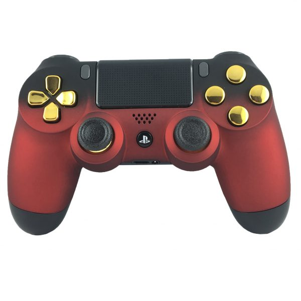 Personnalisation manette PS4 - Manette PS4 custom Soft Touch Red & Gold - Draw my Pad