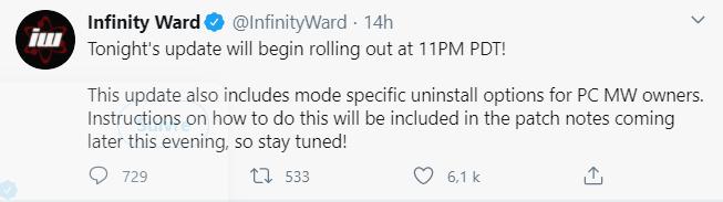 tweet infinity ward warzone mise a jour 1.28