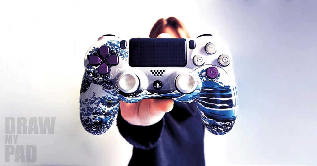Manette PS4 personnalisable - Manette PS4 custom Vague de kanagawa