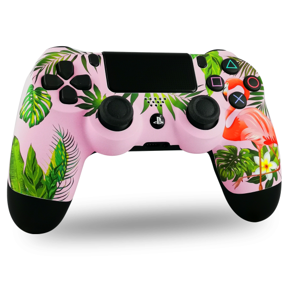 manette-PS4-custom-playstation-4-sony-personnalisee-drawmypad-flamingo