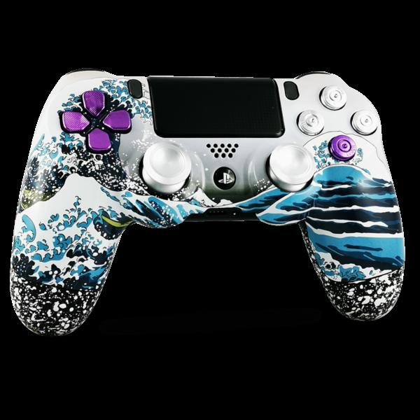 kit-coque-boutons-PS4-custom-playstation-4-sony-personnalisee-drawmypad-grande-vague-kanagawa