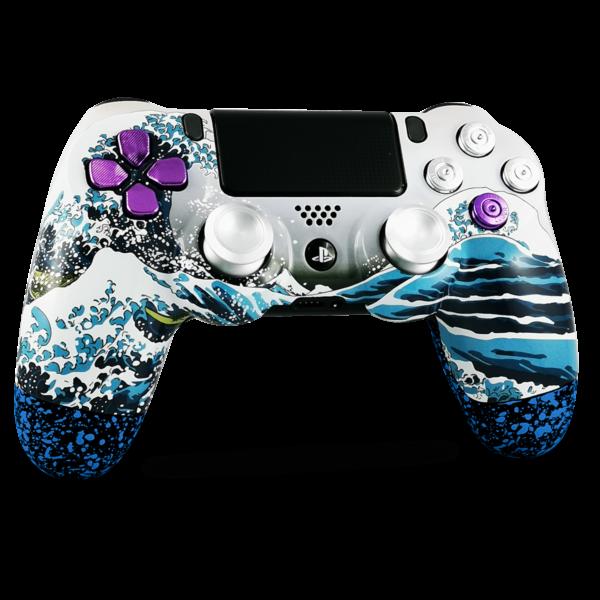 manette-PS4-custom-playstation-4-sony-personnalisee-drawmypad-grande-vague-kanagawa-bleu