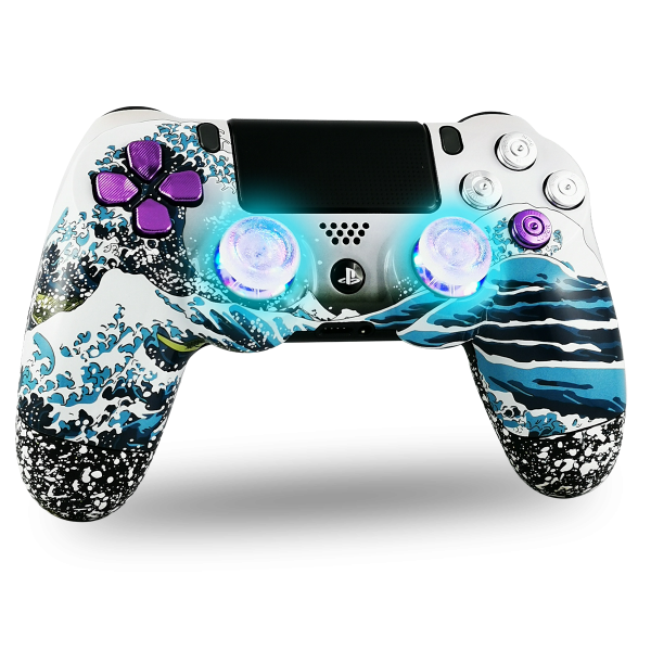 manette-PS4-custom-playstation-4-sony-personnalisee-drawmypad-grande-vague-kanagawa-led