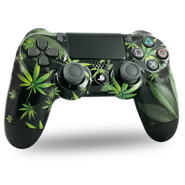 manette-PS4-custom-playstation-4-sony-personnalisee-drawmypad-kanadian-leaves-canabis