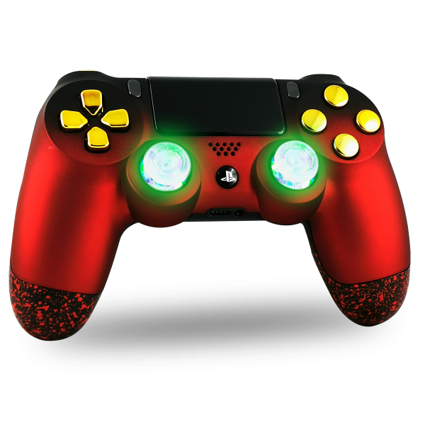 manette-PS4-custom-playstation-4-sony-personnalisee-drawmypad-soft-touch-red-gold-led