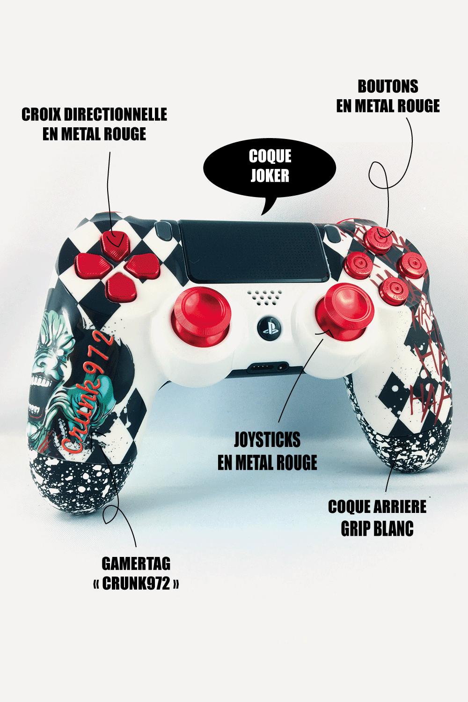 Manette PS4 personnalisable Crunk972- Boutons métal rouge , joysticks PS4 metal