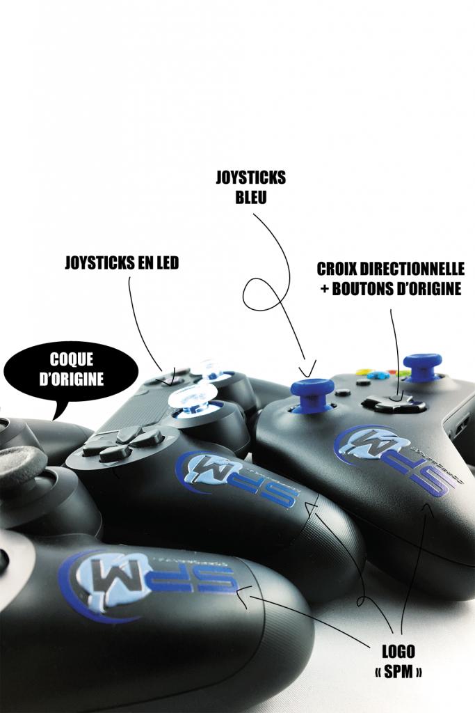 Manette PS4 personnalisable logo team SPM - joysticks PS4 led