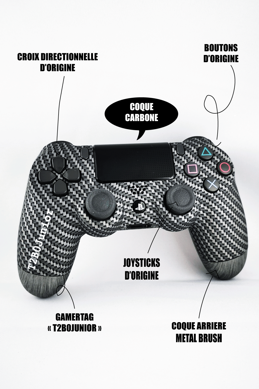 Manette PS4 personnalisable Junior - Coque avant PS4 carbone, coque arrière métal brush