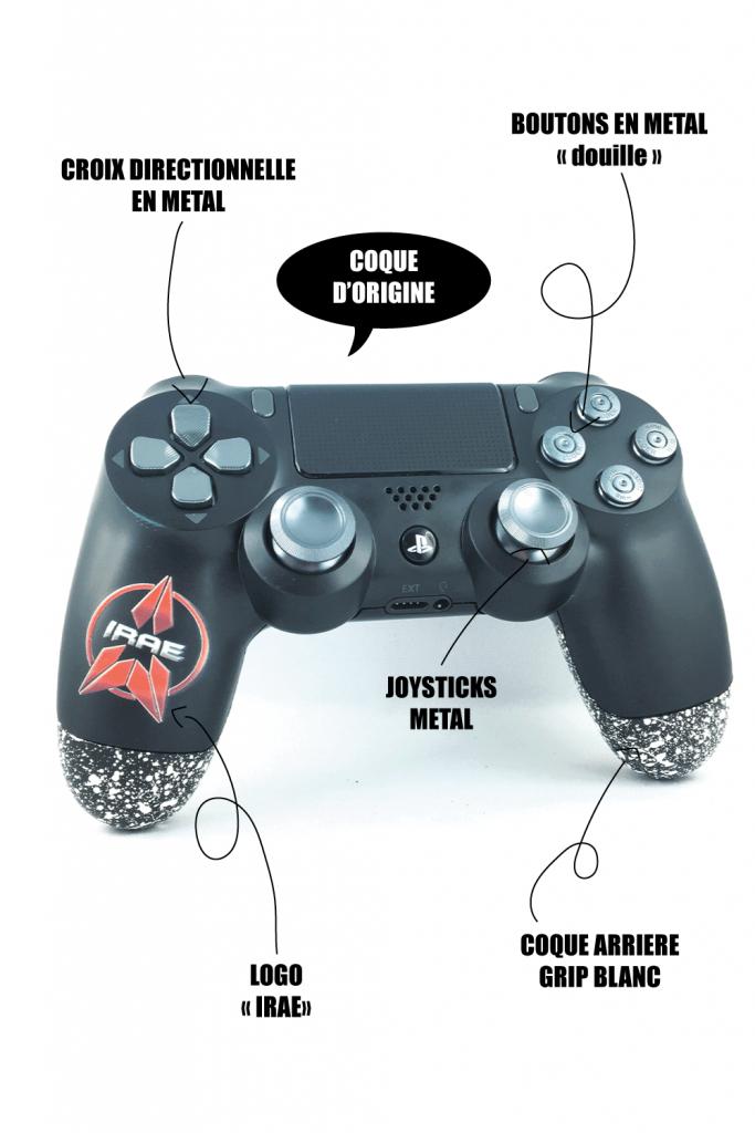 Manette PS4 personnalisable logo team IRAE - Boutons metal, joysticks PS4 metal
