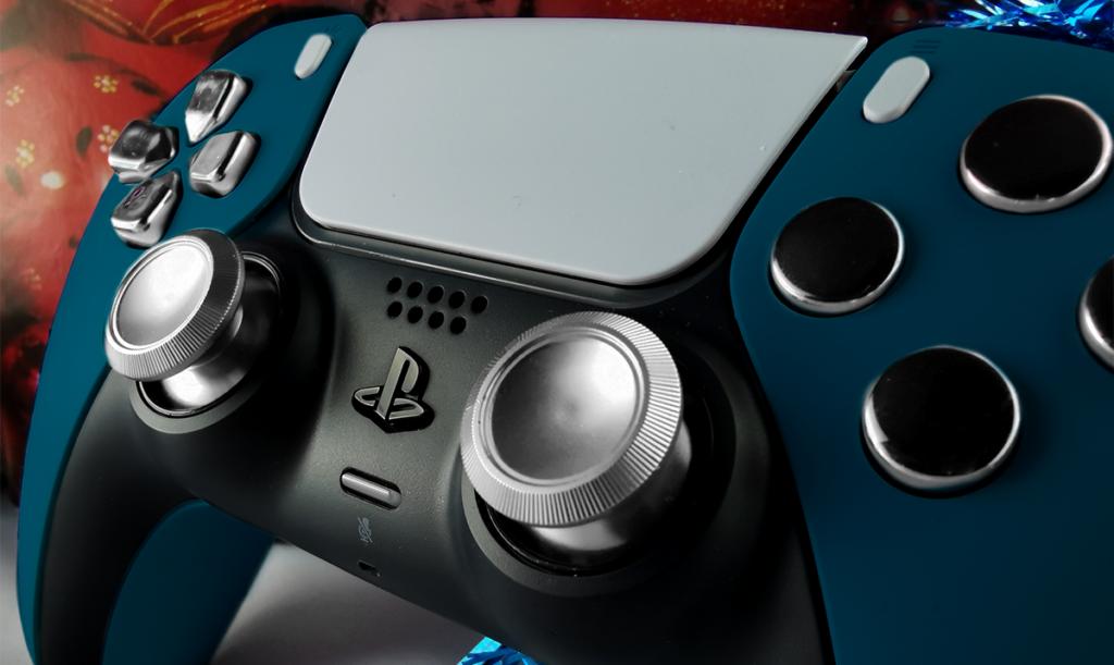 manette PS5 custom bleu metal