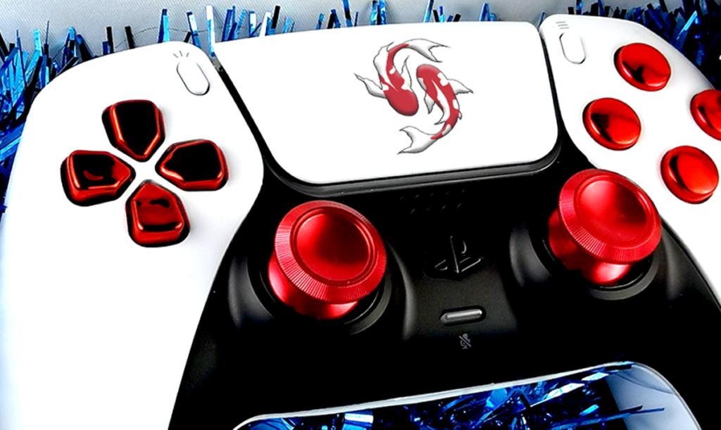 Manette PS5 personnalisée custom draw my pad logo carpe koi